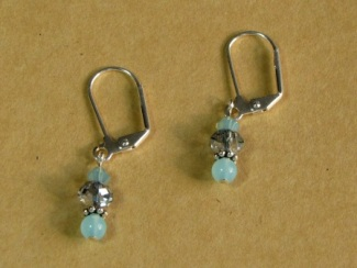 Earrings - Aqua Earrings, with aqua blue Chalcedony, Swarovski crystal, Rondell crystal and surgical steel ear wires.