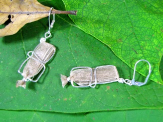Earrings - Bronzite, shimmery bronze ribbon encased into handmade non-tarnish silver wire shaped earrings with surgical steel ear wires