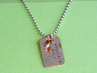 Necklace - Medicine Ball, personalized hand stamped dog tag on silver ball chain.