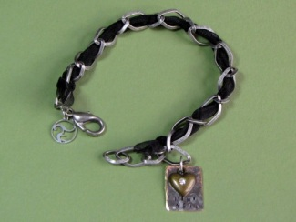 Bracelet - Nina Bean, black ribbon, sterling silver over brass chain and personalized tag.