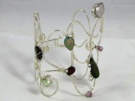 Bracelet - Fresh h2o Pearl Medley, handcrafted non-tarnish silver wire cuff and a medley of Freshwater pearls