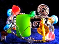 Bracelet - Treasure Trove, multi-faceted cuff with silver wire and a painterly splash of colored pieces